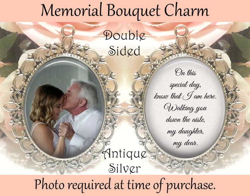 SALE Memorial Bouquet Charm  Double-Sided  Personalized image 0