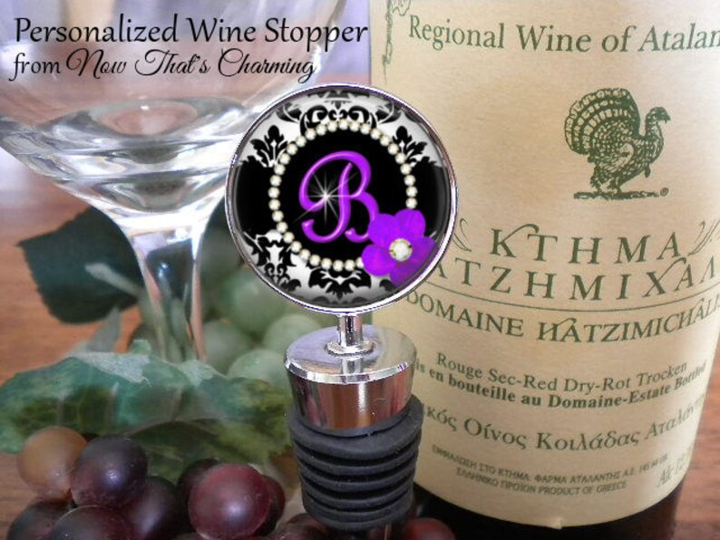 Personalized Wine Stopper Red Floral Damask Mother/'s Day Gift- Cyber Monday Birthday Gift SALE Bridal Party Gift