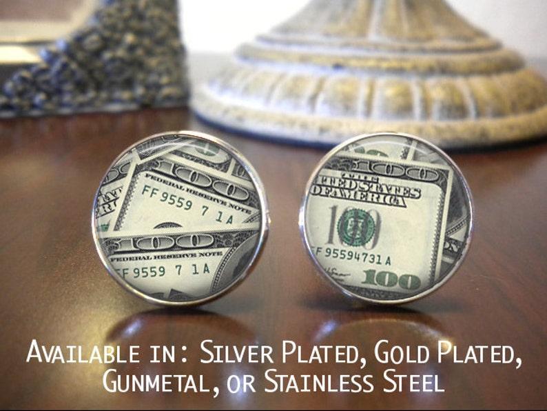 Novelty Cufflinks SALE Cufflinks Groomsman Gift Father of the Bride One Hunderd Dollar Bills