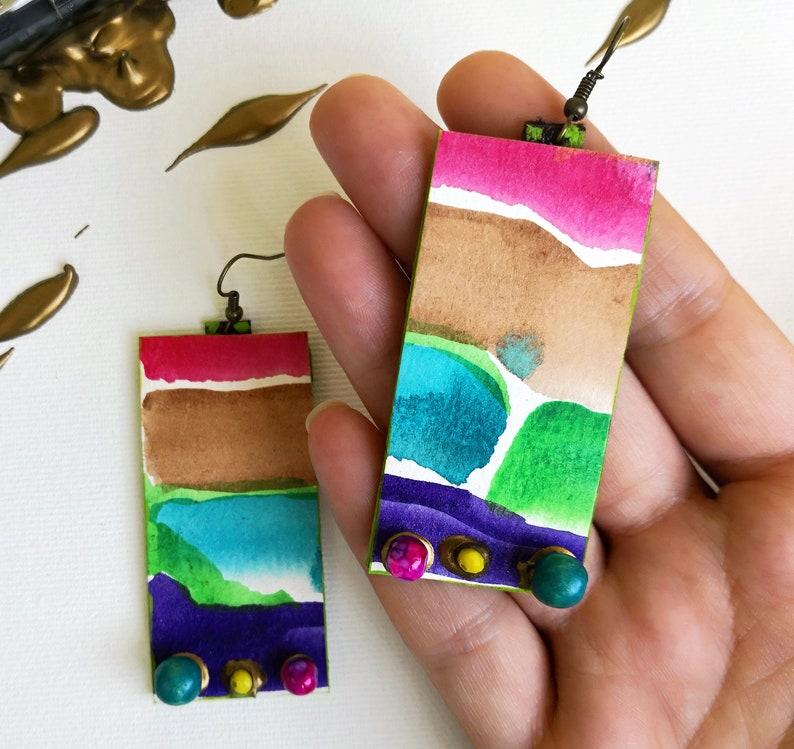 Watercolor painted earrings Artsy dangle earrings Large paper earrings Cubist art earrings Beaded long earrings Statement long earrings