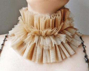 Beige clown tulle ruffle collar, Renaissance Elizabethan collar costume, Tudor era, Wide neck ruff, Fabric layered collar, Fashion collar