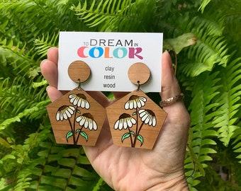 Daisy Flower Earrings, Statement Earrings, Wood Earrings, Handmade Earrings, Laser Cut Earrings, Bold Earrings, Dangle Earrings, Handpainted