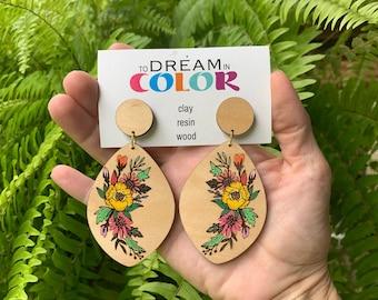 Flower Earrings, Statement Earrings, Wood Earrings, Handmade Earrings, Laser Cut Earrings, Bold Earrings, Dangle Earrings, Hand Painted