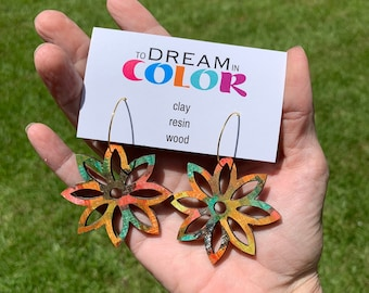 Muted Hand Painted Multicolored Star Flower Earrings, Wood Earrings, Handmade Earrings, Laser Earrings, Dangle Earrings, Statement Earrings