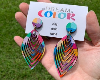Bold Hand Painted Multicolored Earrings, Wood Earrings, Handmade Earrings, Laser Cut Earrings, Dangle Earrings, Statement Earrings