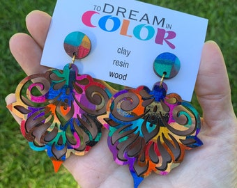 Bold Hand Painted Multicolored Damask Earrings, Wood Earrings, Handmade Earrings, Laser Cut Earrings, Dangle Earrings, Statement Earrings
