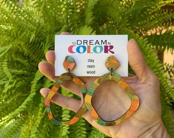 Muted Hand Painted Multicolored Hoop Earrings, Wood Earrings, Handmade Earrings, Laser Cut Earrings, Dangle Earrings, Statement Earrings