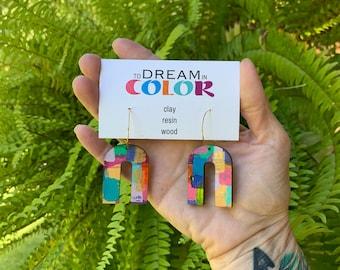 Bold Hand Painted Multicolored Mini Arch Earrings, Wood Earrings, Handmade Earrings, Laser Cut Earrings, Dangle Earrings, Statement Earrings