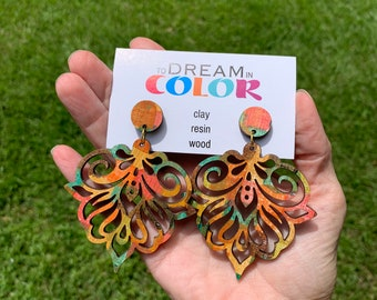 Muted Hand Painted Multicolored Damask Earrings, Wood Earrings, Handmade Earrings, Laser Cut Earrings, Dangle Earrings, Statement Earrings
