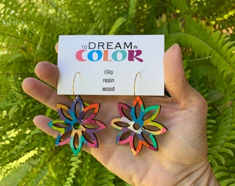 Bold Hand Painted Multicolored Star Flower Earrings, Wood Earrings, Handmade Earrings, Laser Earrings, Dangle Earrings, Statement Earrings