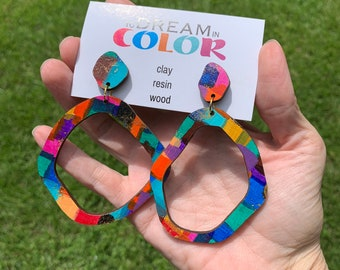 Bold Hand Painted Multicolored Hoop Earrings, Wood Earrings, Handmade Earrings, Laser Cut Earrings, Dangle Earrings, Statement Earrings