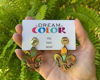Muted Hand Painted Multicolored Fleur de lis Earrings, Wood Earrings, Handmade Earrings, Laser Earrings, Dangle Earrings, Statement Earrings