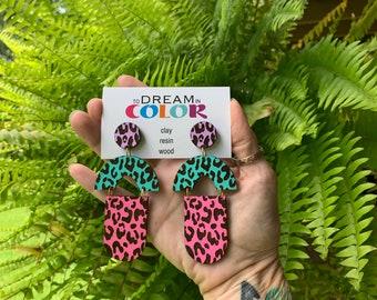 Leopard Earrings, 80s inspired Earrings, Statement Earrings, Wood Earrings, Handmade Earrings, Laser Cut Earrings, Bold Earrings, Dangle