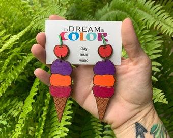 Icecream Earrings, Statement Earrings, Wood Earrings, Handmade Earrings, Laser Cut Earrings, Summer Earrings, Dangle Earrings, Hand painted