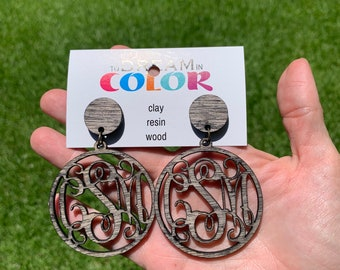 Monogram Earrings, Custom Earrings, Wood Earrings, Handmade Earrings, Laser Cut Earrings, Personalized Earrings, Large Earrings, Handpainted