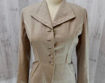 4f6de503cb7e8d 1940s Vintage LILLI ANN WWII Jacket/Blazer Taupe w/Nipped Waist Rare!