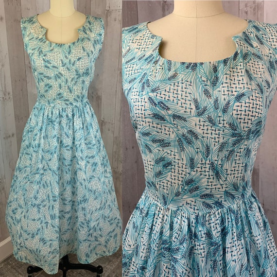 1930s Vintage Dress Blue Batiste Cotton Novelty Pr