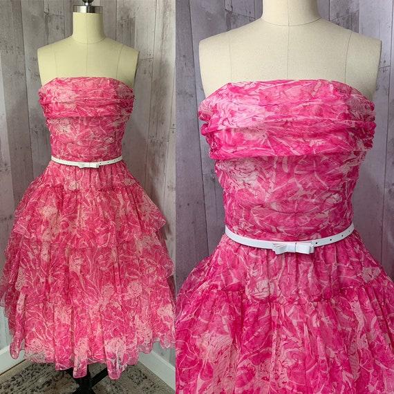 LAROCHE 1980s Vintage Party Dress~Pink Chiffon Cup