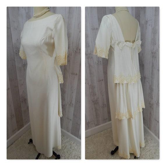 1960s Vintage Wedding Gown by Designer EMMA DOMB White Linen Applique Lace Trim Small