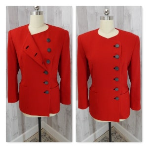 LILLI ANN 1970s Vintage Wool Jacket~ Cherry Red Coat 1980s Dbl Breasted LXL