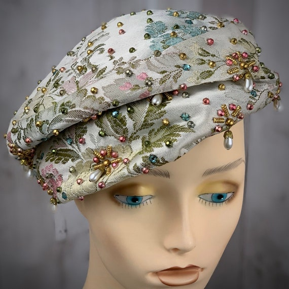 Rare Vintage DIOR Hat 1950s Turban/Pillbox Rhinest