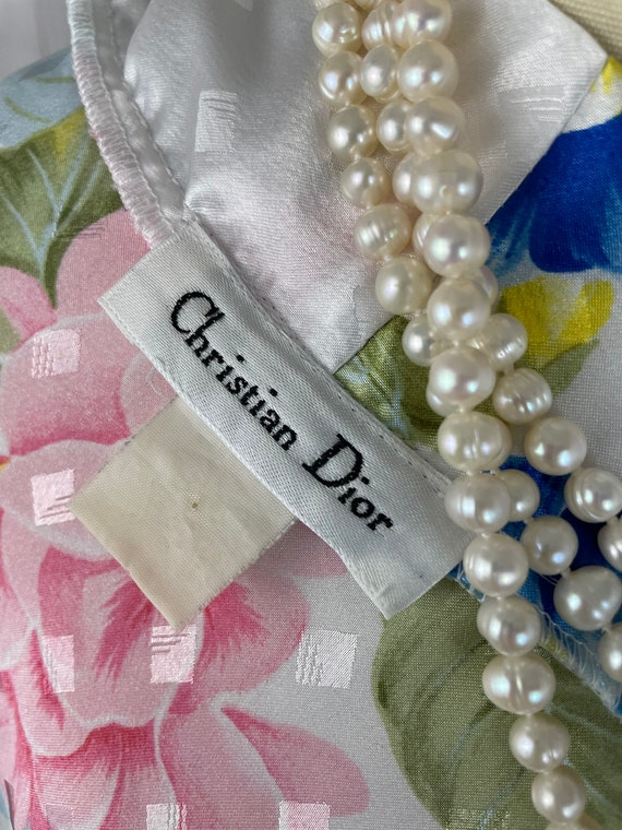 DIOR Vintage 1980s Christian Dior Satin Floral Ro… - image 8