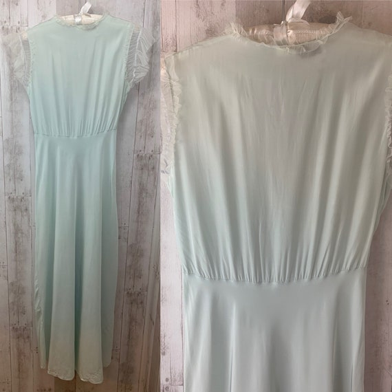 1920s Antique NIGHTGOWN Pale Blue Negligee Linger… - image 4