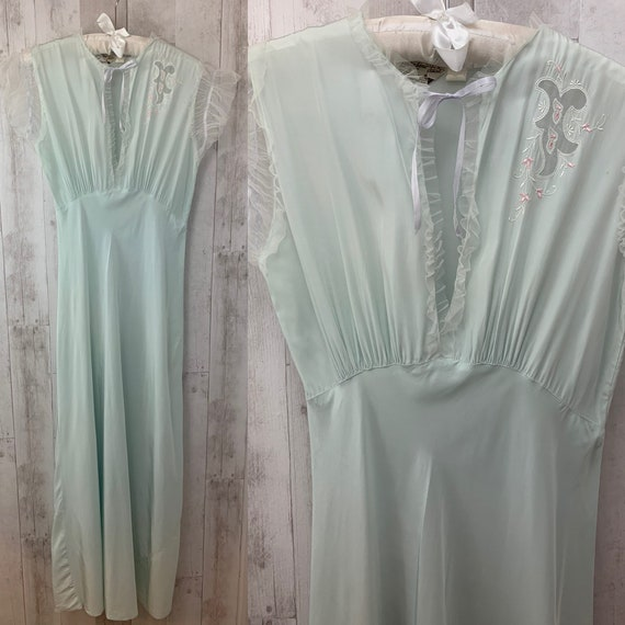 1920s Antique NIGHTGOWN Pale Blue Negligee Linger… - image 8