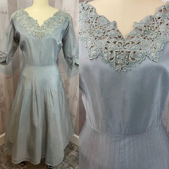 1950s Vintage Party Dress-Aline Aqua Taffeta Gown-