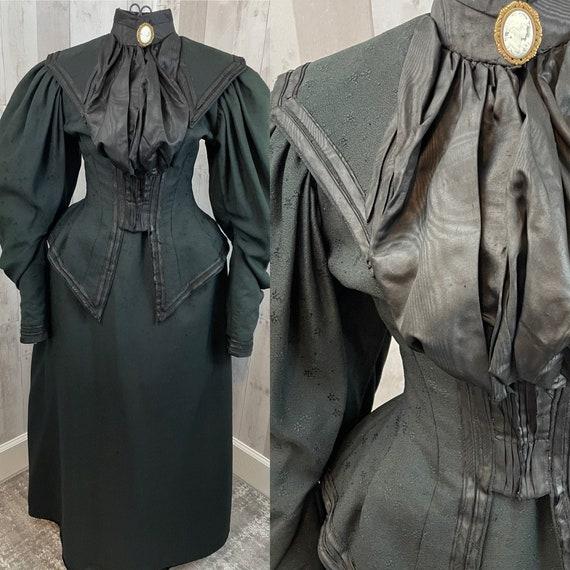 1900s Victorian 2PC Black Wool/Silk Mourning Dress