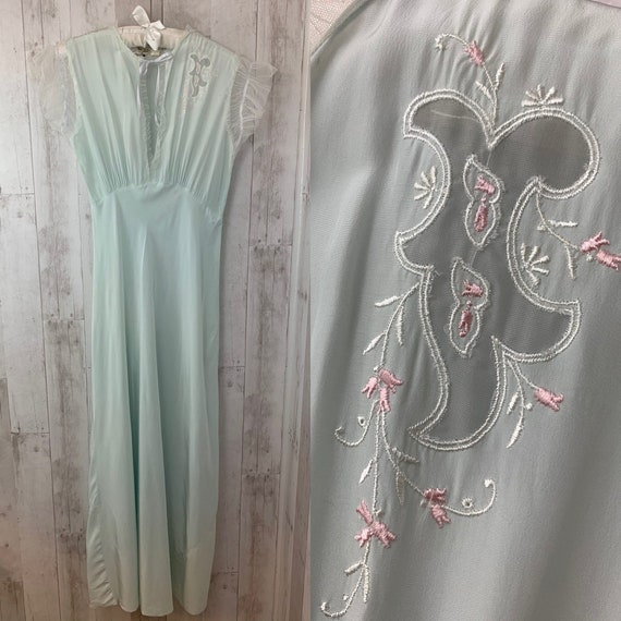 1920s Antique NIGHTGOWN Pale Blue Negligee Linger… - image 2