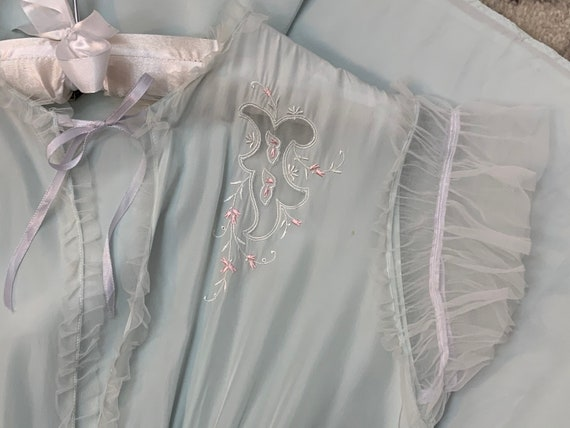 1920s Antique NIGHTGOWN Pale Blue Negligee Linger… - image 7