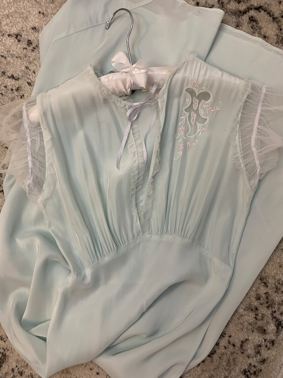 1920s Antique NIGHTGOWN Pale Blue Negligee Lingeri