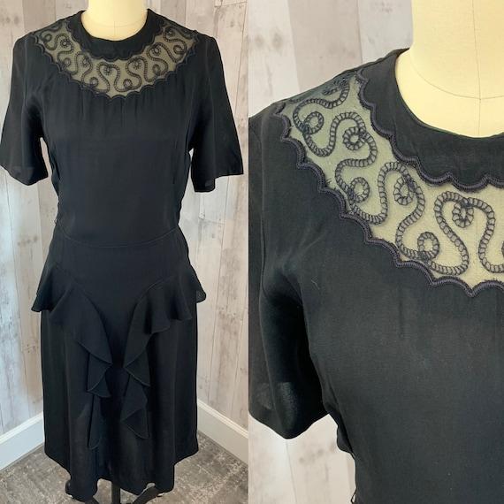1940s Vintage Party Dress~Black Crepe WWII Pinup 1