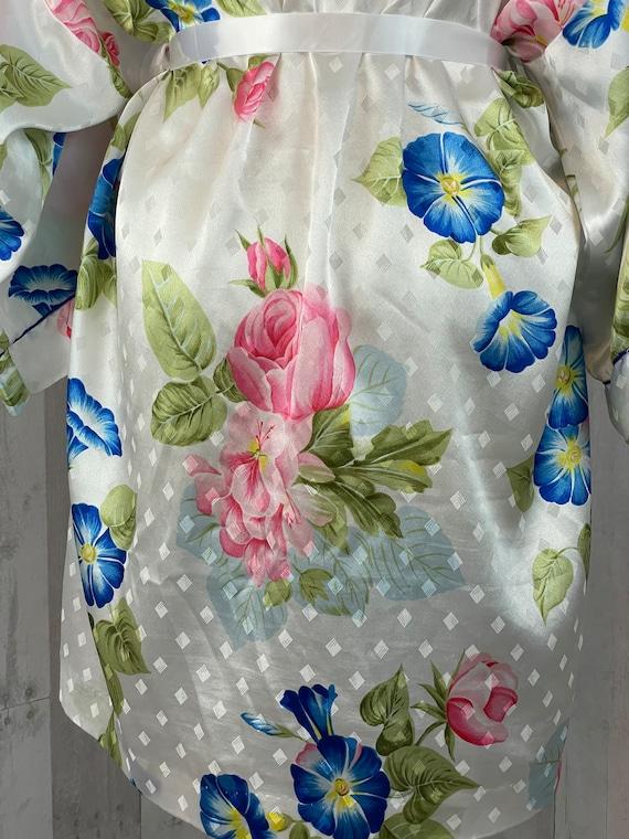 DIOR Vintage 1980s Christian Dior Satin Floral Ro… - image 7