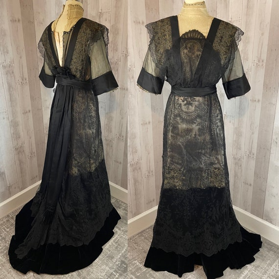 1910s Edwardian Dress Antique Tea Gown Black Lace