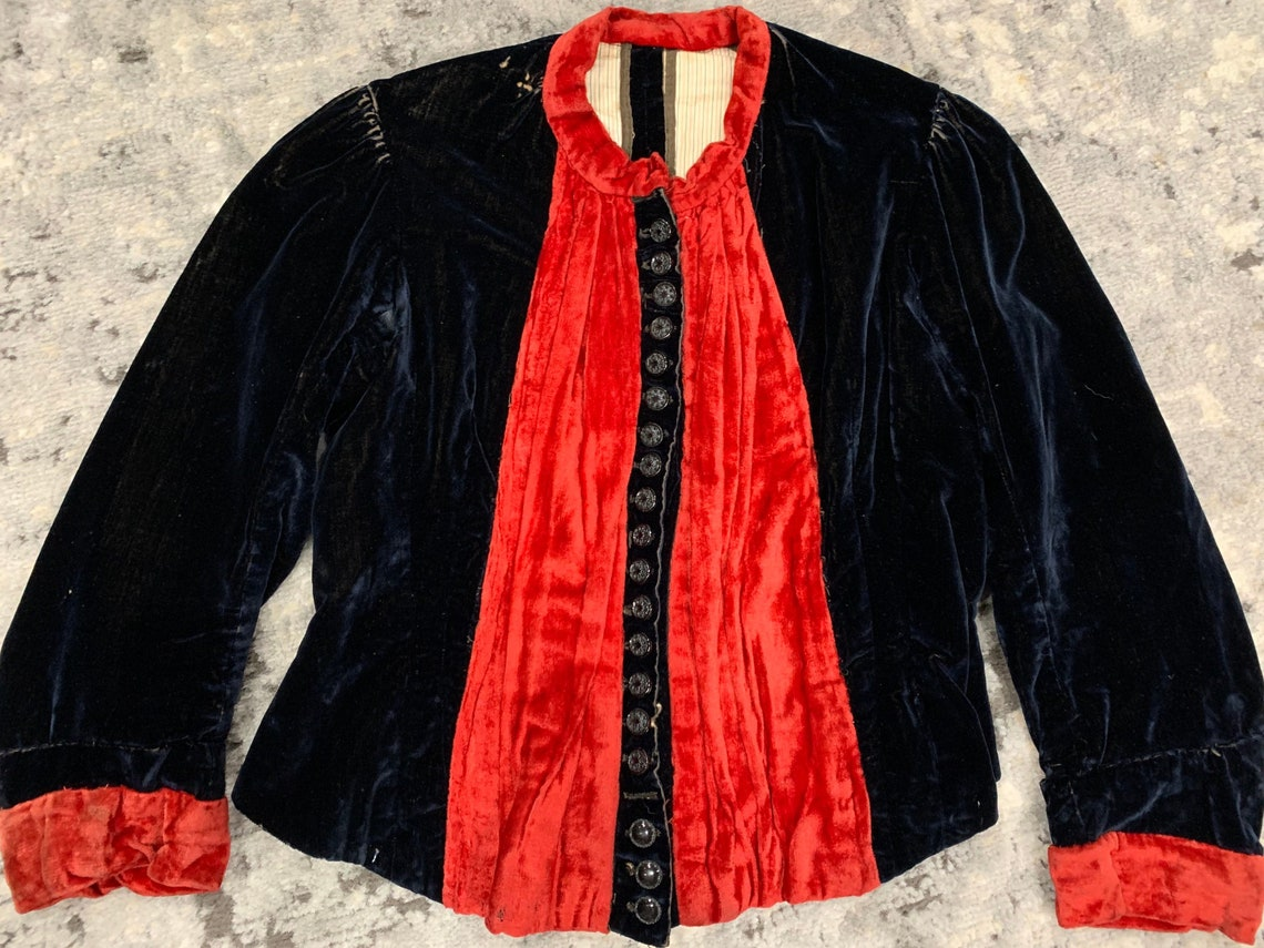 1890s Victorian Antique Corset Top/bodice/coat/jacket Black & Red Silk Velvet Xs Jrs/girls