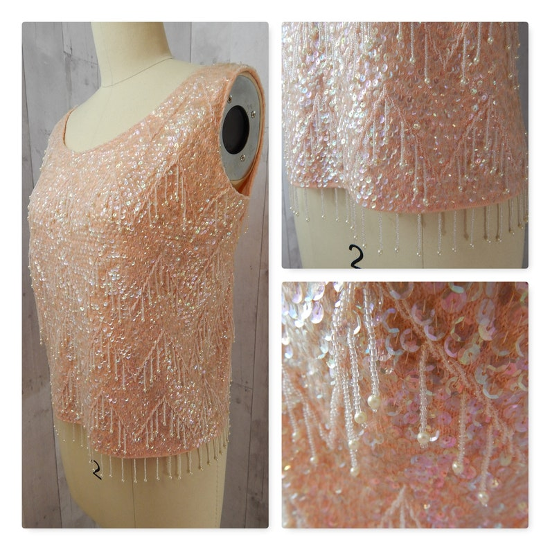 d94c347fcaf0 1950-60s Pale Pink Blush Iridescent Bead   Sequin Shell Tank