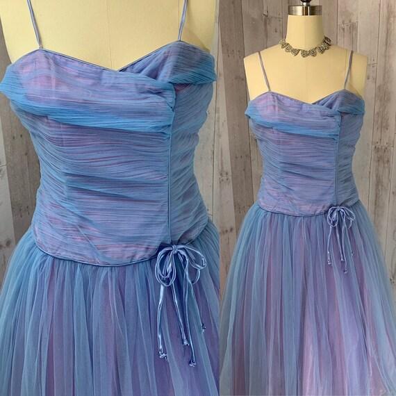 1950s Blueberry Tulle Halter Emma Domb Designer Dress