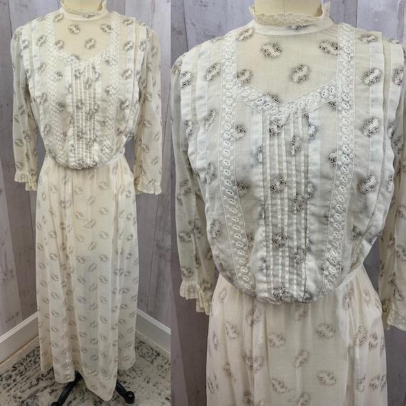 1910s Edwardian 2PC Dress~Antique Lawn Tea Gown Sh