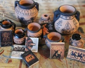 Dollhouse Miniature Ancient Greek vases books set number 1