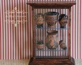 Dollhouse Miniature Ancient Greece vases showcase OOK