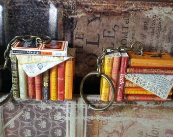 Miniature books keychain