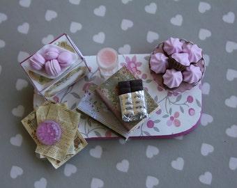 Dollhouse miniature pink romantic set on tray OOAK