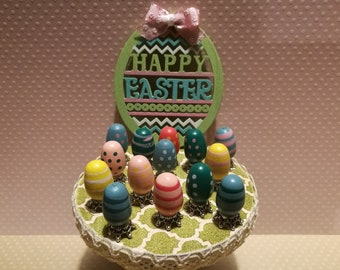 Dollhouse miniature wooden Easter eggs (random)