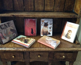 Dollhouse miniature  6 books about cats -  set 2