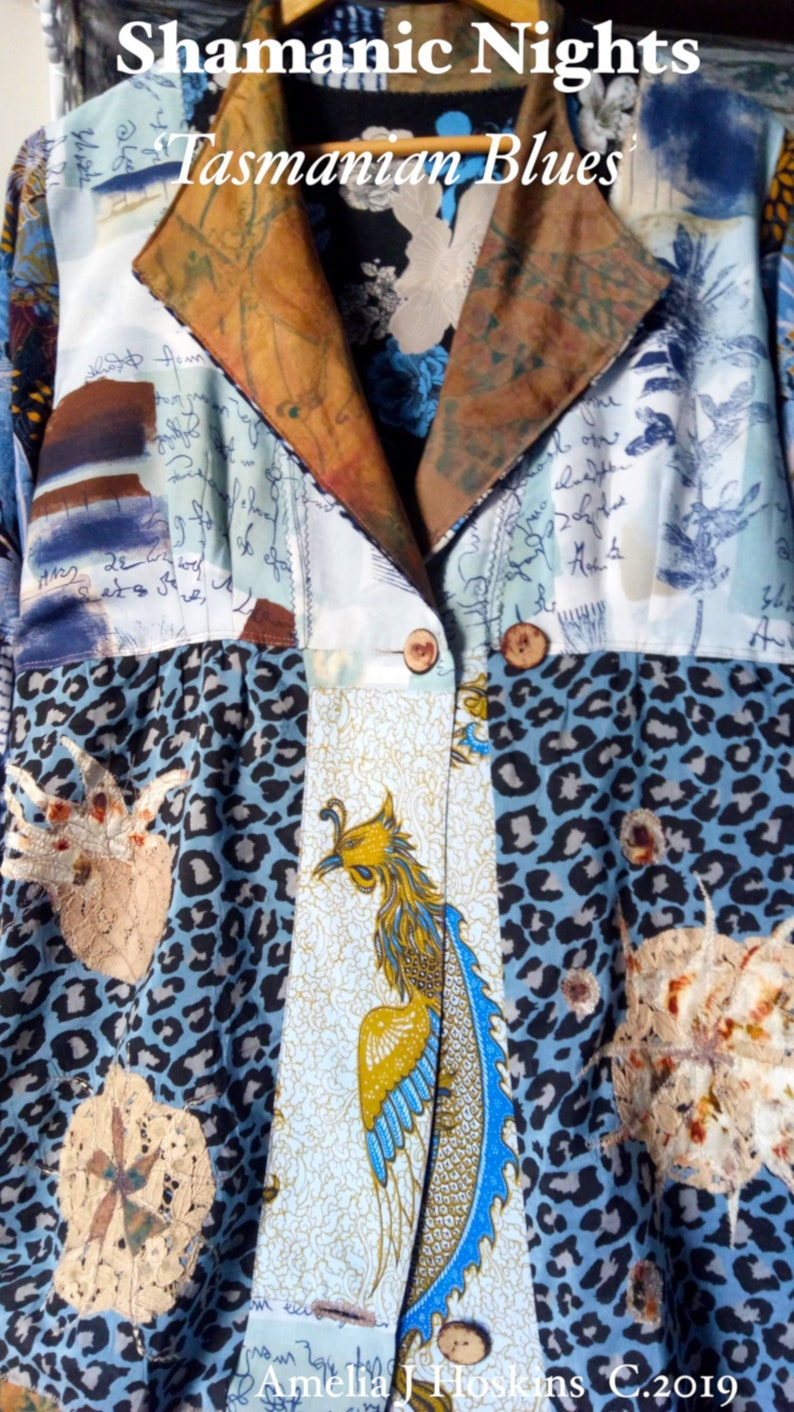 Comfortable leisure wear Kimono-Dress in blues dark blue image 0