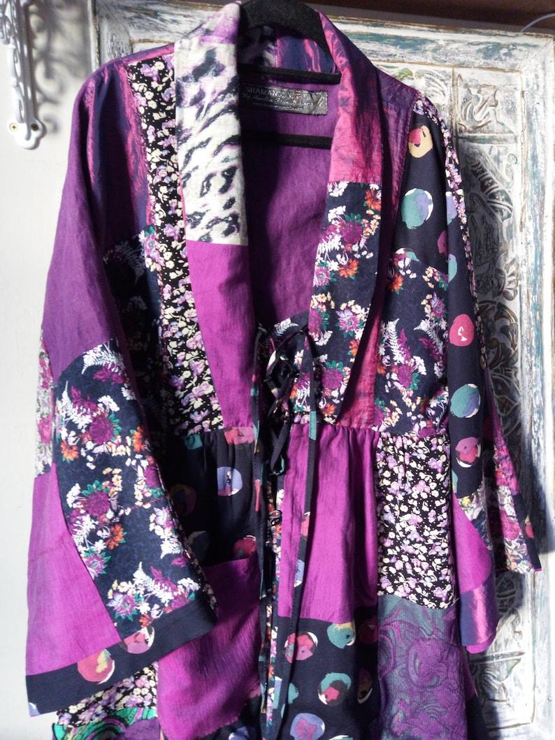 Comfortable Long Kimono-Dress 'Purple Shimmers' image 0