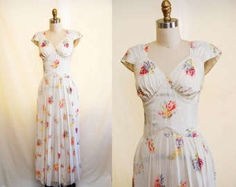 Vintage 1930s Romantic Evening Gown / 30s Floral Wedding Dress with Sweetheart Neckline / Bias Cut /  X-Small