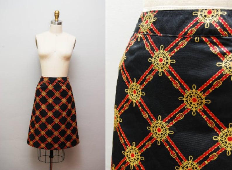 Vintage Nautical Scarf Print A-line Skirt  Retro Pencil Skirt image 0